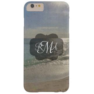 Océano de las iniciales del monograma de la playa funda de iPhone 6 plus barely there