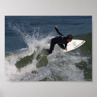 Océano de las ondas de las personas que practica s póster