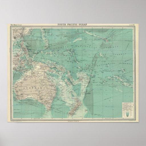 Océano de South Pacific Impresiones