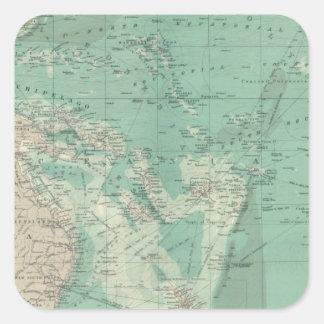 Océano de South Pacific Pegatina Cuadrada