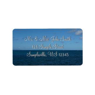 Océano del azul del horizonte de St Lucia Etiqueta De Dirección