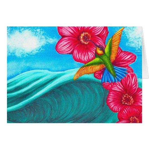 Océano del colibrí tarjeta de felicitación