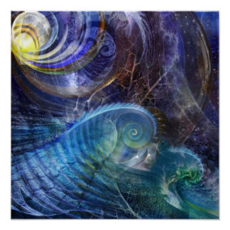 Océano del fractal póster