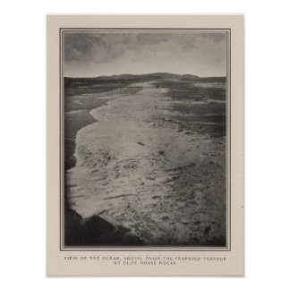 Océano del sur de rocas de la casa del acantilado posters