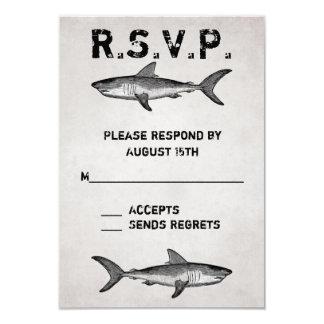 """Océano del tiburón del vintage que casa las invitación 3.5"""" x 5"""""""