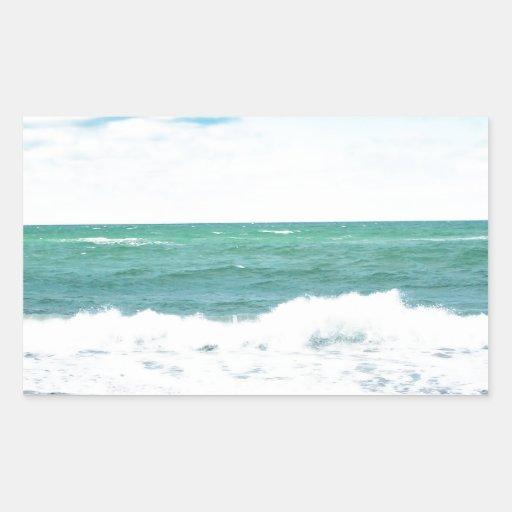 Océano del trullo, playa de Sandy Pegatina Rectangular