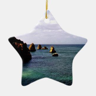 Océano divino de Portugal - trullo y azul Adorno Navideño De Cerámica En Forma De Estrella