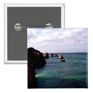 Océano divino de Portugal - trullo y azul Chapa Cuadrada 5 Cm
