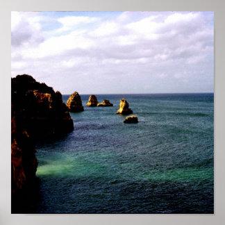 Océano divino de Portugal - trullo y azul Póster