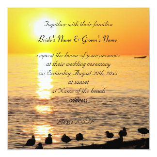 """océano en la puesta del sol con las gaviotas que invitación 5.25"""" x 5.25"""""""