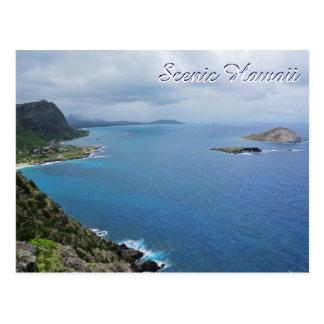 Océano escénico de las montañas de la isla de tarjeta postal