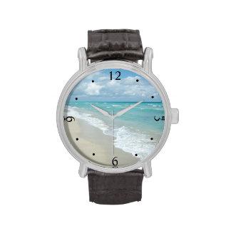 Océano extremo de la opinión de la playa de la rel relojes de mano