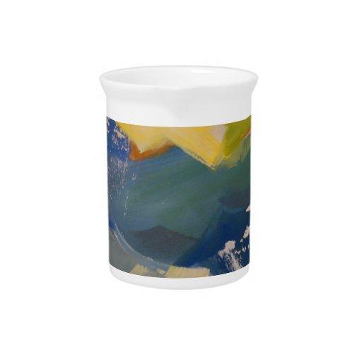 Océano floreciente jarra para bebida