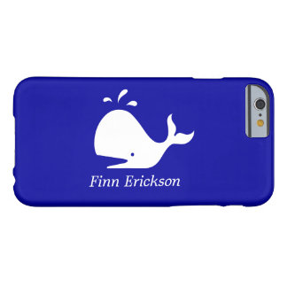 Océano Glow_White-on-Blue Whale_personalized Funda Para iPhone 6 Barely There