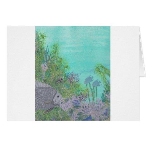 Océano gris del azul del Angelfish Felicitaciones