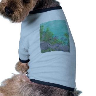 Océano gris del azul del Angelfish Camiseta Con Mangas Para Perro