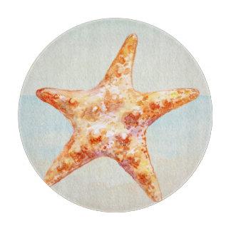 Océano náutico de las estrellas de mar de la playa tabla para cortar