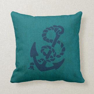 Océano náutico del ancla y de la cuerda azulverde cojin