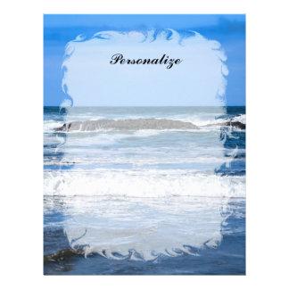 Océano Pacífico azul con nombre Membrete A Diseño