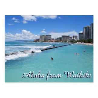 Océano Pacífico de Honolulu Hawaii de la playa de Postal