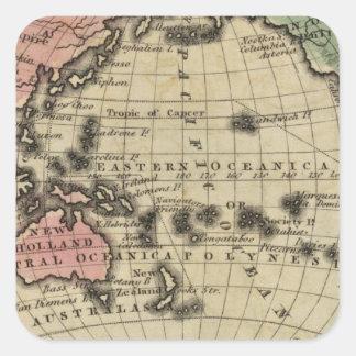 Océano Pacífico, islas británicas Pegatina Cuadrada