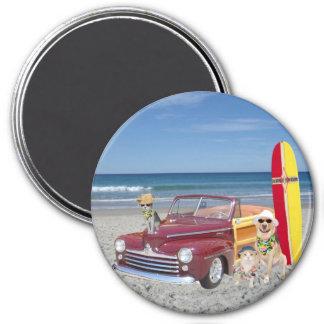 Océano/playa/el practicar surf/Woodie Imán Redondo 7 Cm