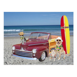 Océano/playa/el practicar surf/Woodie Postales