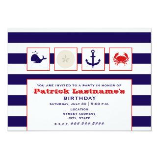 """Océano/playa/fiesta de cumpleaños de la navegación invitación 5"""" x 7"""""""