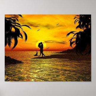 Océano romántico de las palmeras de la puesta del póster