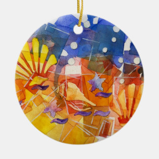 Océano roto adorno navideño redondo de cerámica