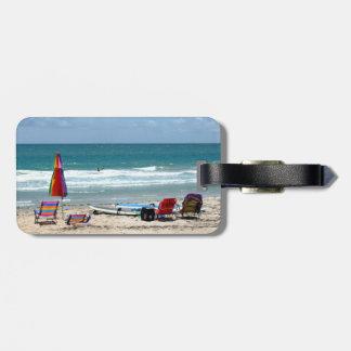 océano SM de la arena de los paraguas de las Etiqueta De Equipaje