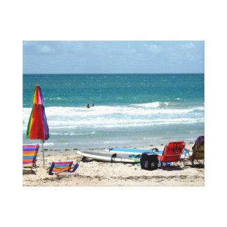 océano SM de la arena de los paraguas de las tabla Lona Envuelta Para Galerias