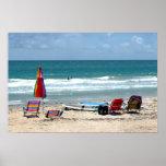 océano SM de la arena de los paraguas de las tabla Poster