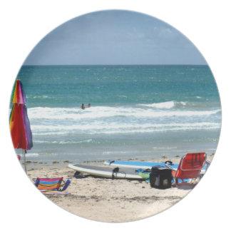 océano SM de la arena de los paraguas de las tabla Plato De Comida