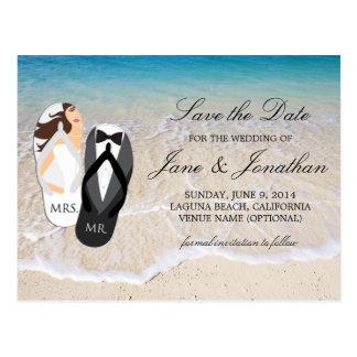 """Océano """"Sr. y señora"""" reserva de la playa del boda Postal"""