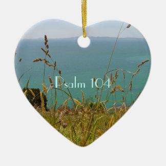 Océano Vista - salmo 104 Adorno Navideño De Cerámica En Forma De Corazón