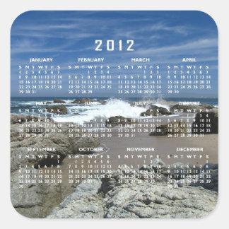 Océano vivo; Calendario 2012 Pegatina Cuadrada
