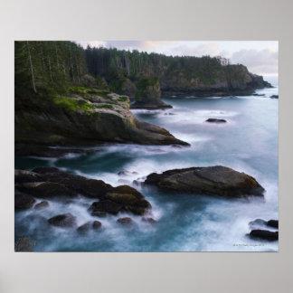 Océano y orilla rocosa de la área remota 2 póster