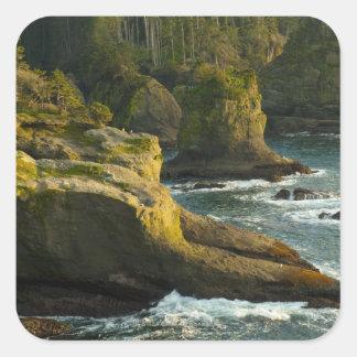 Océano y orilla rocosa de la área remota calcomania cuadrada personalizada