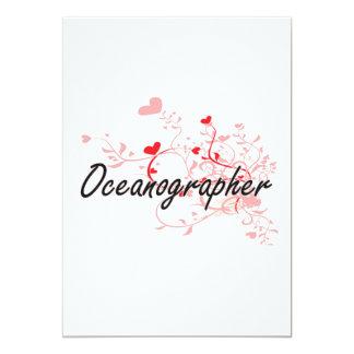 Oceanographer Artistic Job Design with Hearts 5x7 Paper Invitation Card