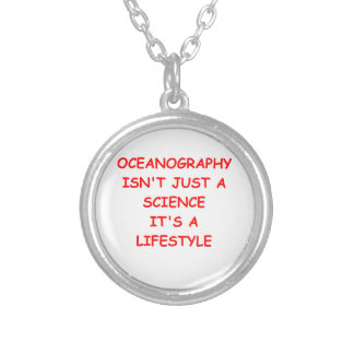oceanography round pendant necklace