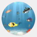 Océanos de pescados pegatina redonda