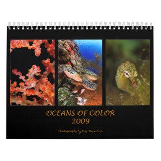 Océanos del color calendario de pared