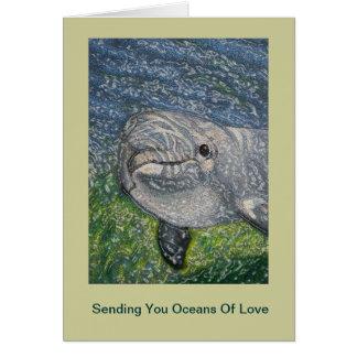Océanos del cumpleaños del amor: Delfín debajo del Tarjeta De Felicitación