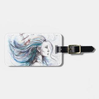 """Oceans"" Girl surreal original art Luggage tag"