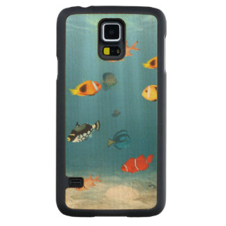 Oceans Of Fish Carved® Maple Galaxy S5 Slim Case
