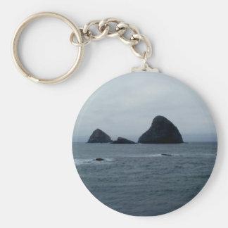 Oceanside Basic Round Button Keychain