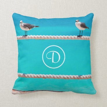 Beach Themed Oceanside beach birds photo custom monogram pillow
