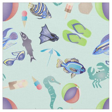 Beach Themed Oceanside Beach Pattern Fabric