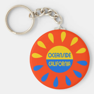 Oceanside California Basic Round Button Keychain